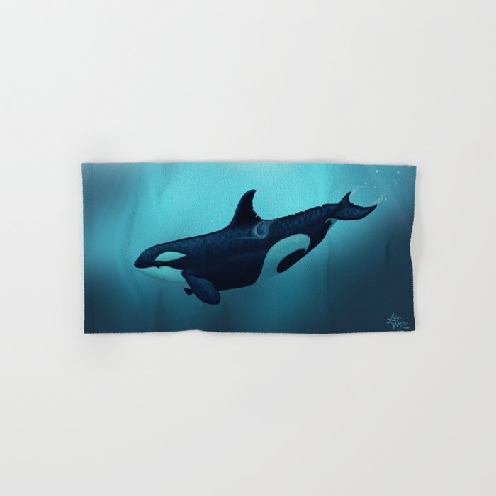 """Lost in Serenity"" by Amber Marine ~ Orca / Killer Whale Art, (Copyright 2015) Hand & Bath Towel"