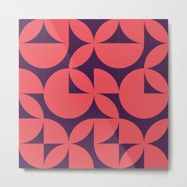 Abstract Purple Circles Modern Mid Century Geometric Pattern Scandinavian Rustic Interior Metal Print
