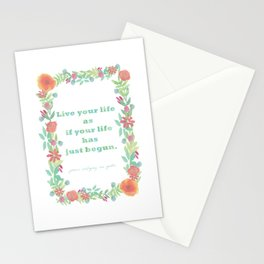 Watercolour Inspirational Quote - Live your life Stationery Cards