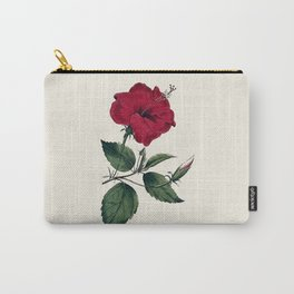Vintage ivory white red green botanical flower Carry-All Pouch