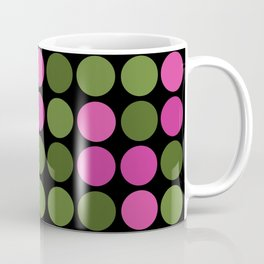 Pattern in pink and olive polka dots on black. Coffee Mug