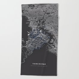 Vancouver city map Beach Towel