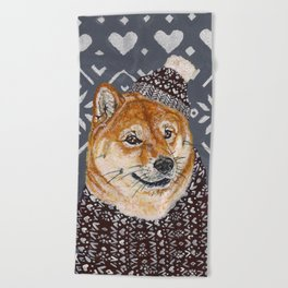 Shiba Inu in a  Hat and Scarf Beach Towel