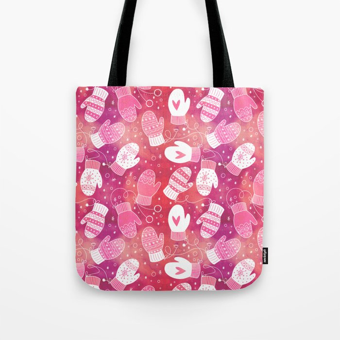 Winter Mittens Pink & Red Tote Bag