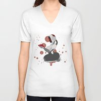 robot V-neck T-shirts featuring Robot by Aeternial