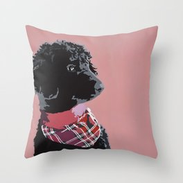 Black Standard Poodle in Pink Throw Pillow