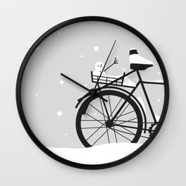 Bicycle & snow Wall Clock