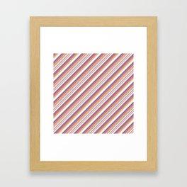 Orchid Indigo Beige Inclined Stripes Framed Art Print