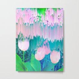 No Rain, No Flowers - tulip Glitch #homedecor #buyart Metal Print