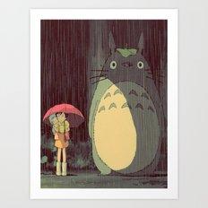 My Neighbor Totoro (Waiting for the bus in the rain IN THE RAIN) Art Print