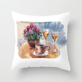Romantic meeting. Round table of a street cafe with a cup of coffee, liqueur and flowers in a pot  Throw Pillow