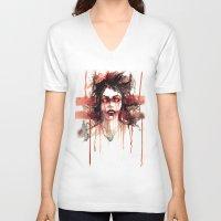 vampire V-neck T-shirts featuring VAMPIRE by AkiMao