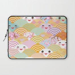 seamless pattern Kawaii with pink cheeks and winking eyes with japanese sakura flower Laptop Sleeve