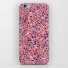 Terrazzo pink red blue iPhone Skin