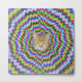 Dizzy Cat Abstract Metal Print