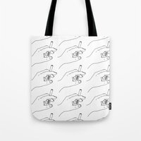 cigarette Tote Bags featuring Cigarette Smoker by Katie Rosealea