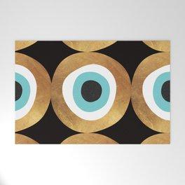 Gold Evil Eye 70s Bohemian Lucky Charm Nazar  Welcome Mat