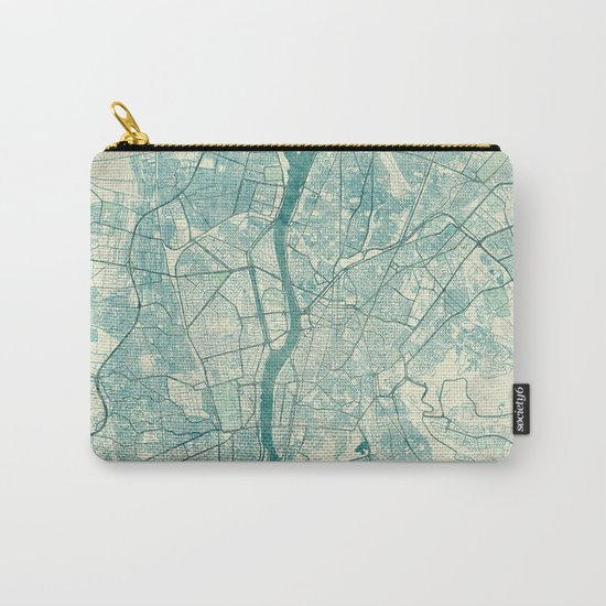 Cairo Map Blue Vintage Carry-All Pouch