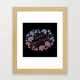 Love yourself black Framed Art Print