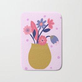 Pink Spotty Flower Bath Mat
