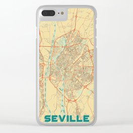 Seville Map Retro Clear iPhone Case