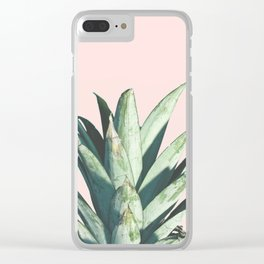 Pineapple on Blush Pink Clear iPhone Case