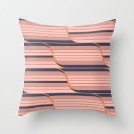 Geo Stripes - Navy & Neutral Throw Pillow