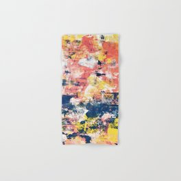 032.5: a vibrant abstract design in yellow pink and blue by Alyssa Hamilton Art Hand & Bath Towel