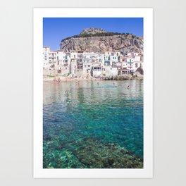Azure water in Cefalu Art Print