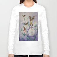 fireflies Long Sleeve T-shirts featuring Girls and Fireflies by SandraSueSteiner