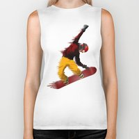 snowboarding Biker Tanks featuring Snowboarding by Boehm Graphics