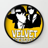 velvet underground Wall Clocks featuring VELVET UNDERGROUND Y by zzglam