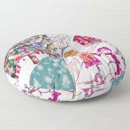 Merry Christmas Snowgirl Floor Pillow