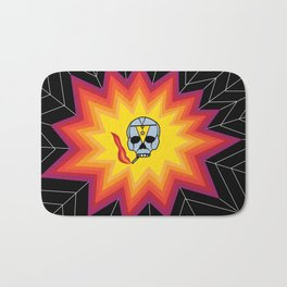 Rainbow Smoking Skull Spider Web Design Bath Mat