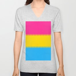 pixel pride- pansexual pride flag Unisex V-Neck