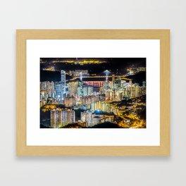 Hong Kong City View At Night Framed Art Print