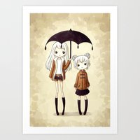 sisters Art Prints featuring Sisters by Freeminds