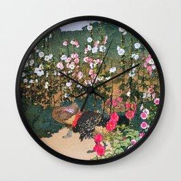 Yoshida Hiroshi - Karaaoi, Alcea Rosea - Digital Remastered Edition Wall Clock