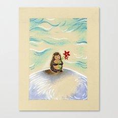 Hedgie + flower Canvas Print