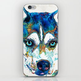 Colorful Husky Dog Art by Sharon Cummings iPhone Skin