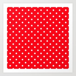 Carmine Red with White Polka Dots Art Print