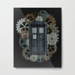 TARDIS with Clockwork Gears Metal Print
