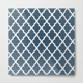 Dusky Blue Moroccan Pattern Metal Print