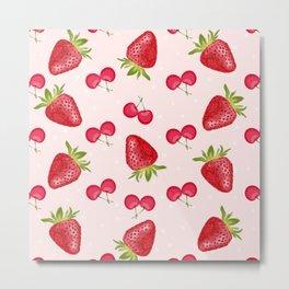 Strawberries Cherries Fiesta Pattern Metal Print