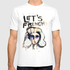 LET'S FRENCH!  MEDIUM White Mens Fitted Tee