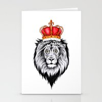 lion king Stationery Cards featuring Lion King by Libby Watkins Illustration