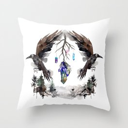 Black Ravens In The Crystal Woods Throw Pillow
