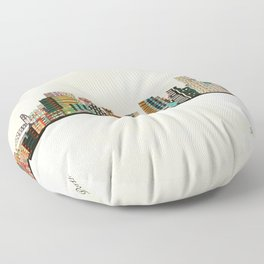 portland skyline Floor Pillow