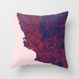 Bridgetown, Barbados, Blue, White, City, Map Throw Pillow