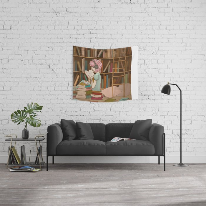 I Love Books Wall Tapestry